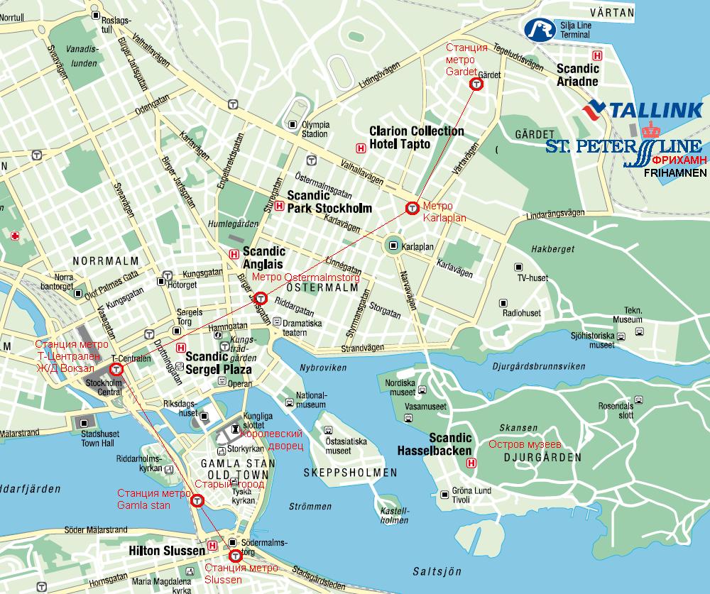 Порт Фрихамн / Frihamnen. Из порта Фрихамн отправляются паромы Tallink и St.Peter Line  Карта Стокгольма