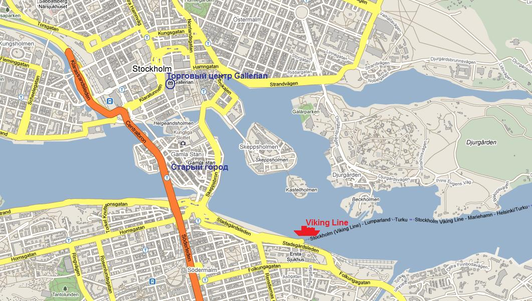 Терминал Viking Line в Стокгольме. Stockholm map.