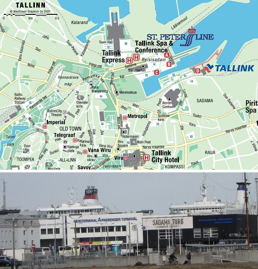 План Таллиннского порта с обозначением терминалов А В C D.