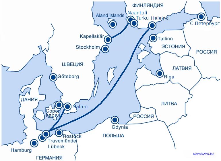 NAPAROME.RU / Карта маршрутов пассажирских паромов Finnlines в 2015 году