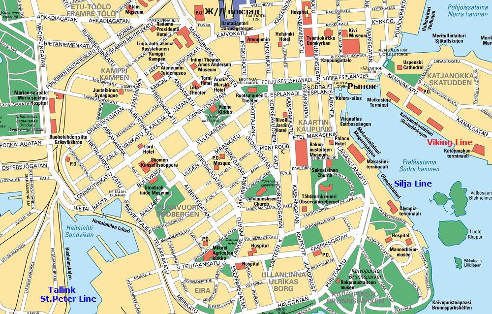 Карта Хельсинки.