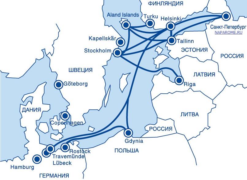 NAPAROME.RU / Карта маршрутов паромных компаний St Peter Line, Tallink Silja, Finnlines, Viking Line