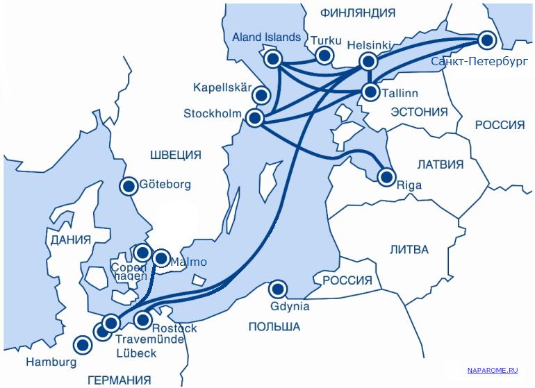 NAPAROME.RU / Карта паромных линий Tallink Silja Line, Viking Line, Finnlines, St. Peter Line ( Принцесса Мария, Принцесса Анастасия)