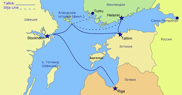 NAPAROME.RU / Маршруты паромов Tallink и Silja Line
