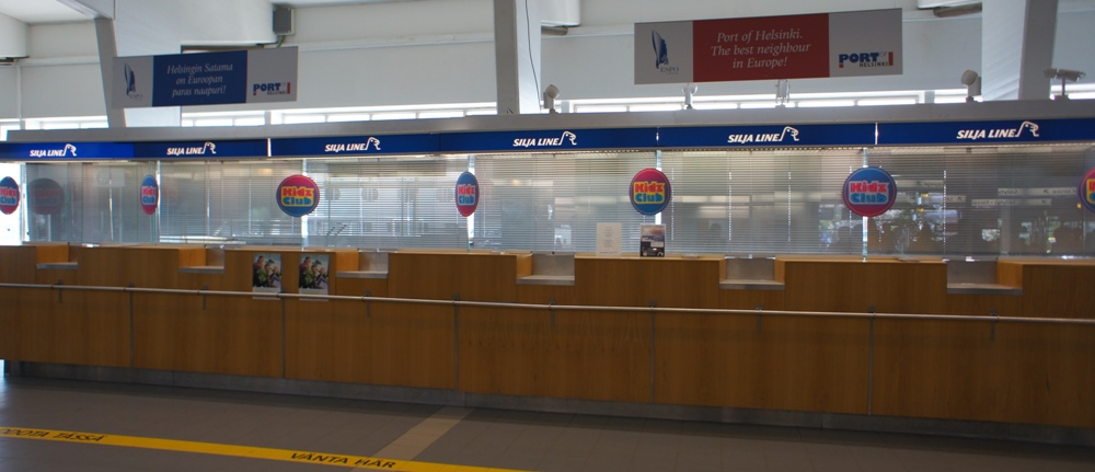 NAPAROME.RU   Окна регистрации пассажиров Силия лайн на терминале Олимпия в Хельсинки Olympiaterminaali