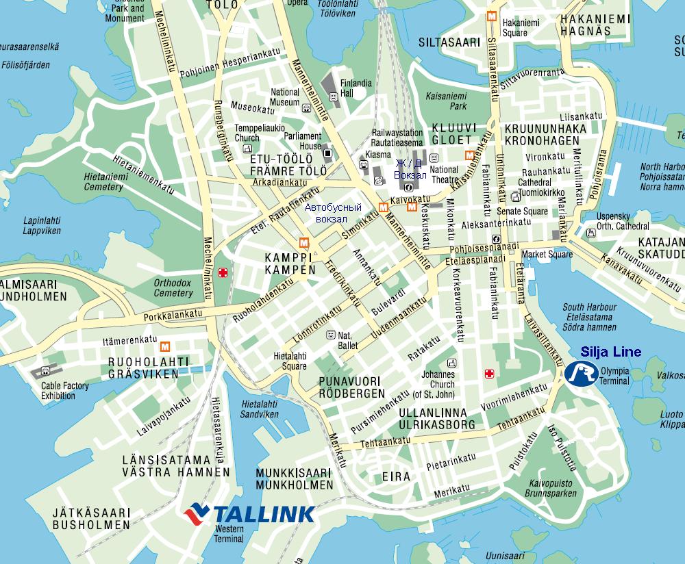 Карта Хельсинки. Терминал Olympia. Паромы Таллинк Силья