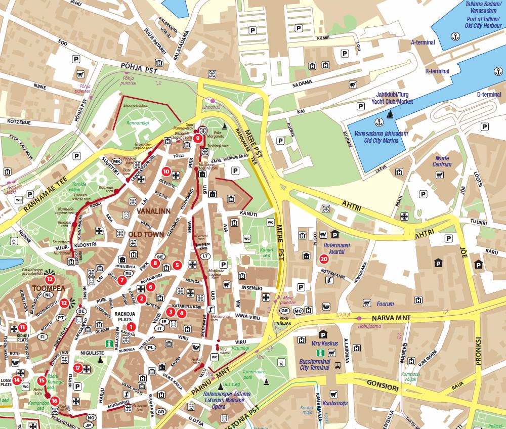 Карта Таллинна с достопримечательностями.