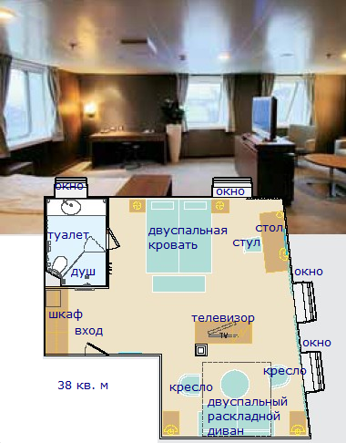 NAPAROME.RU / Каюта Owner's Suite 38 кв. м на пароме Finnlines. Оунерс Сьют / Финнлайнс