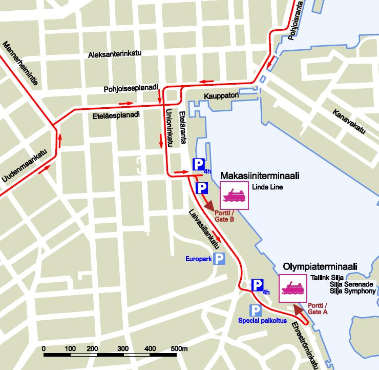 Парковки в районе теминалов Олимпия и Макасиини в Хельсинки
