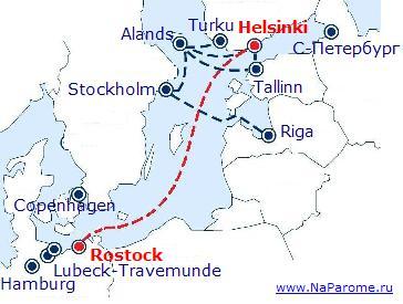 Маршрут компании Tallink Silja Rostock-Helsinki.   www.NaParome.ru