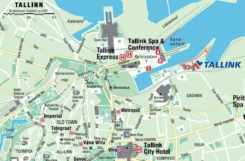 План Таллинна, терминал Д, паромная куомпания Таллинк Силья. www.NaParome.ru